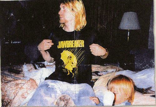 Kurt Cobain wearing a Jawbreaker t-shirt. Jawbreaker toured with Nirvana in the mid 1990's. Photo courtesy of Adam Pfahler.